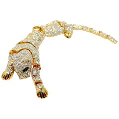 Vintage 1970s Long Flexible Dangling Panther Brooch