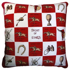 """Vintage 1970's Luxury Silk Cushion """"Sport of Kings"""" Pillow cover Made in London"""