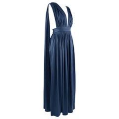 Vintage 1970s Maxi Length Dark Blue Jersey Plunging Goddess Dress