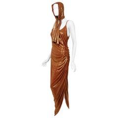 Vintage 1970's Metallic Poly-Lurex Draped Disco Maxi Dress w/ Hood Headscarf