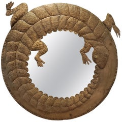 Vintage 1970s Mexican Hammered Brass Circular Coiled Lizard Mirror