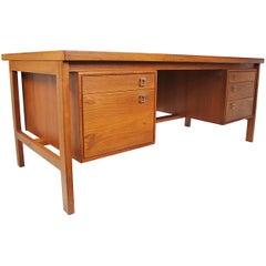 Vintage 1970s Midcentury Danish Modern Teak Executive Desk by Arne Vodder