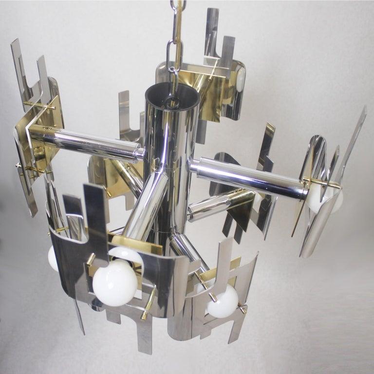 Aluminum Vintage 1970s Mid-Century Modern Brass and Chrome Chandelier by Gaetano Sciolari For Sale