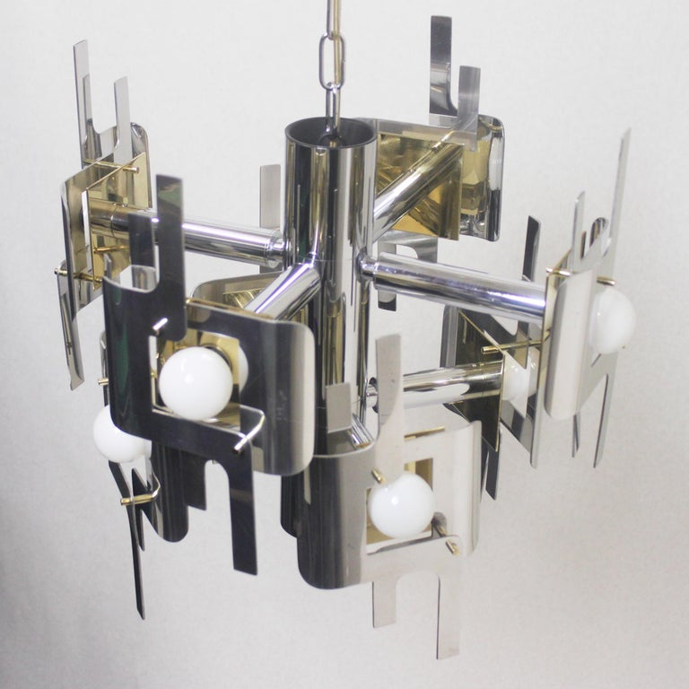 Vintage 1970s Mid-Century Modern Brass and Chrome Chandelier by Gaetano Sciolari For Sale 1