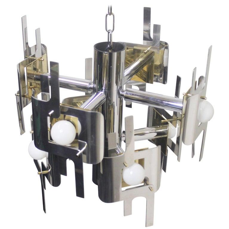Vintage 1970s Mid-Century Modern Brass and Chrome Chandelier by Gaetano Sciolari For Sale