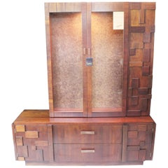 Vintage 1970s Mid-Century Modern Brutalist Display China Cabinet Hutch by Lane