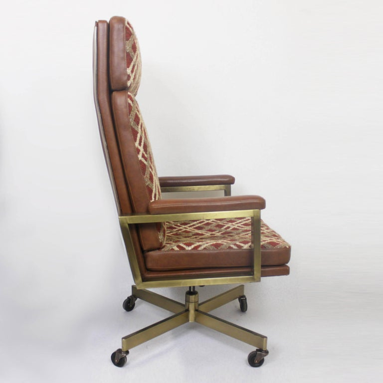 Mid Century Modernist High Back Or Desk Chair W New