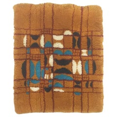 Vintage 1970s Modernist Cotton Wool Wall Rug Object Made in Germany
