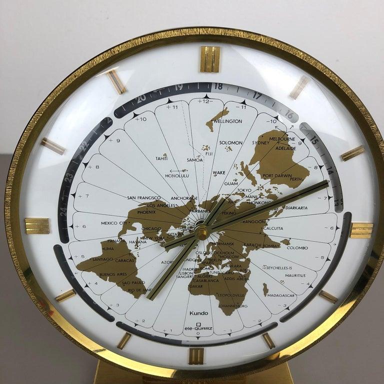 Vintage 1970s Modernist Ele-Quarz Table World Clock Clock by Kundo, Germany For Sale 4
