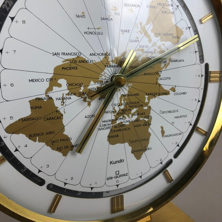 Vintage 1970s Modernist Ele-Quarz Table World Clock Clock by Kundo, Germany For Sale 5