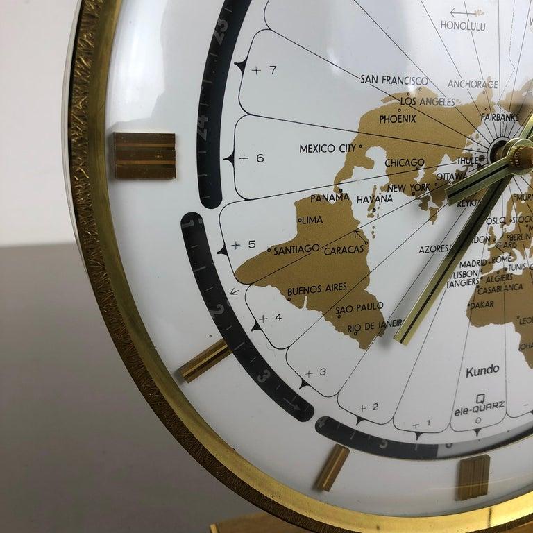 Vintage 1970s Modernist Ele-Quarz Table World Clock Clock by Kundo, Germany For Sale 6