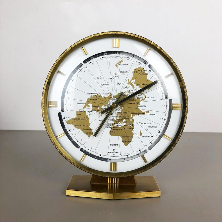 Vintage 1970s Modernist Ele-Quarz Table World Clock Clock by Kundo, Germany For Sale 7