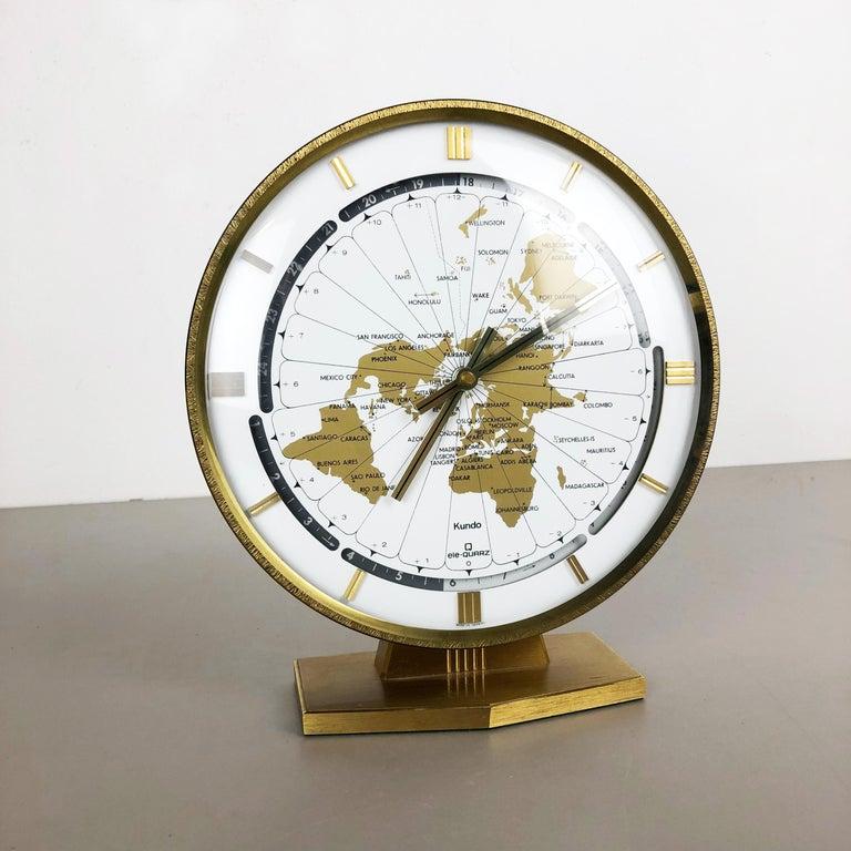 Mid-Century Modern Vintage 1970s Modernist Ele-Quarz Table World Clock Clock by Kundo, Germany For Sale