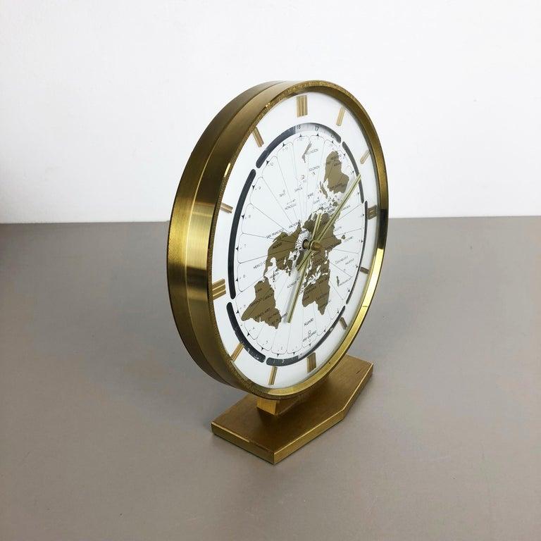 Metal Vintage 1970s Modernist Ele-Quarz Table World Clock Clock by Kundo, Germany For Sale