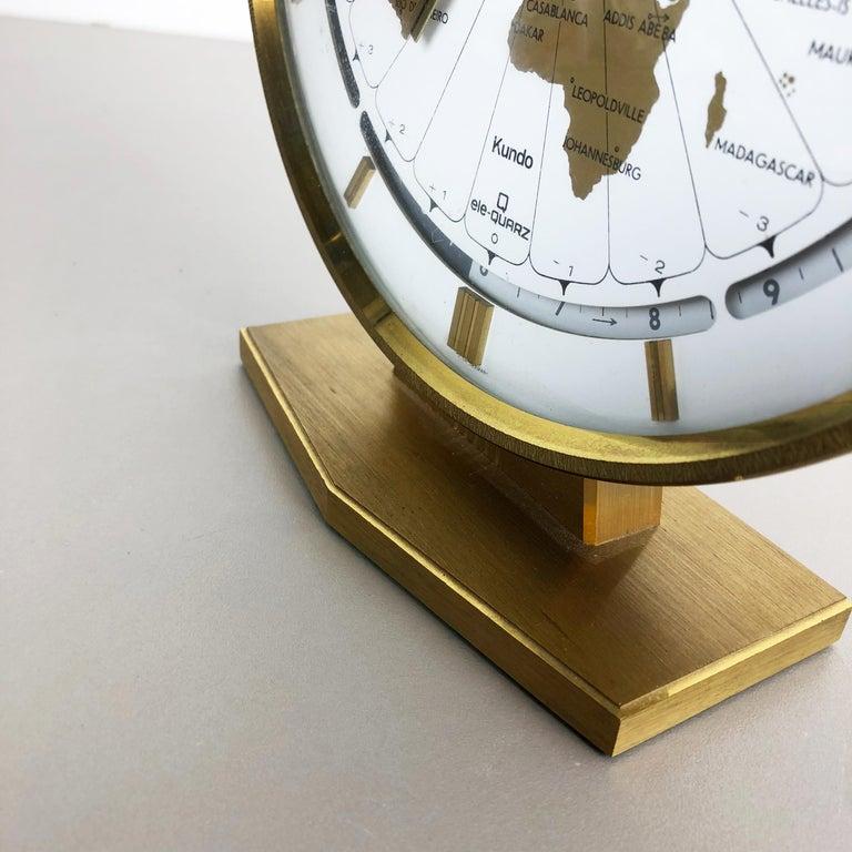 Vintage 1970s Modernist Ele-Quarz Table World Clock Clock by Kundo, Germany For Sale 2