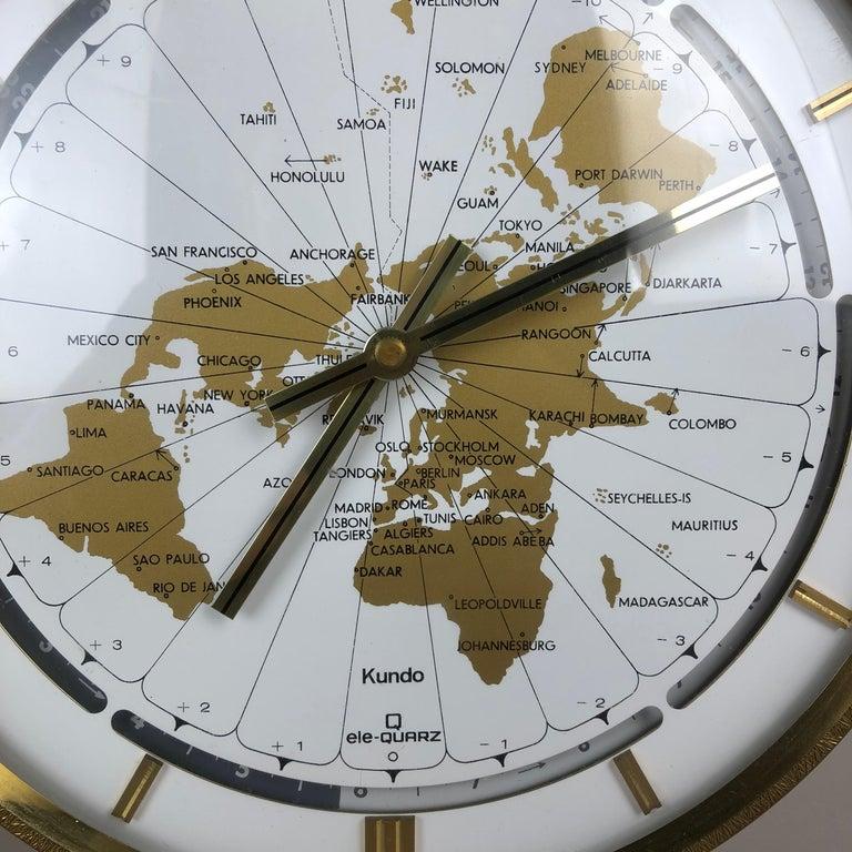 Vintage 1970s Modernist Ele-Quarz Table World Clock Clock by Kundo, Germany For Sale 3