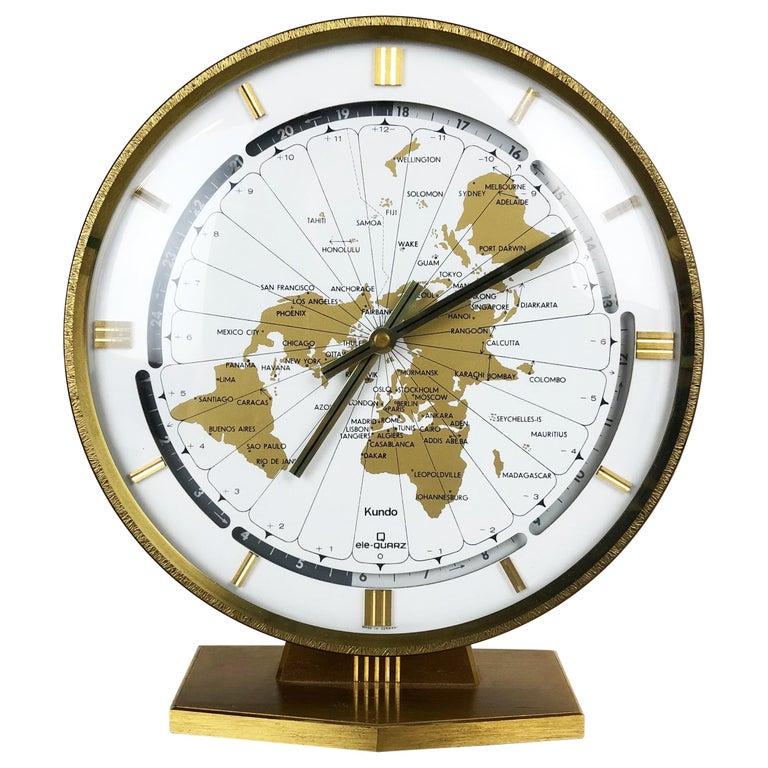Vintage 1970s Modernist Ele-Quarz Table World Clock Clock by Kundo, Germany For Sale