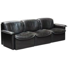 Vintage 1970s Modular De Sede DS 12 Black Leather Modular Sofa