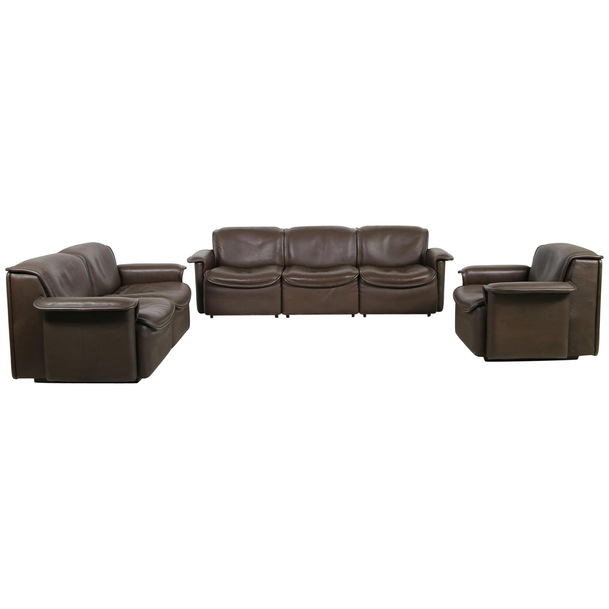 Vintage 1970s Modular De Sede DS 12 Brown Leather Sofa Set & Chair Seating Group