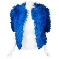 Vintage 1970's Monsieur of Paris Sapphire Blue Mongolian Curly-Fur Bolero Jacket