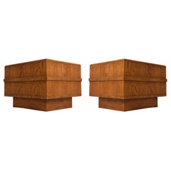 Vintage 1970s Monumental Pedestal Side Tables with Cane and Glass Top