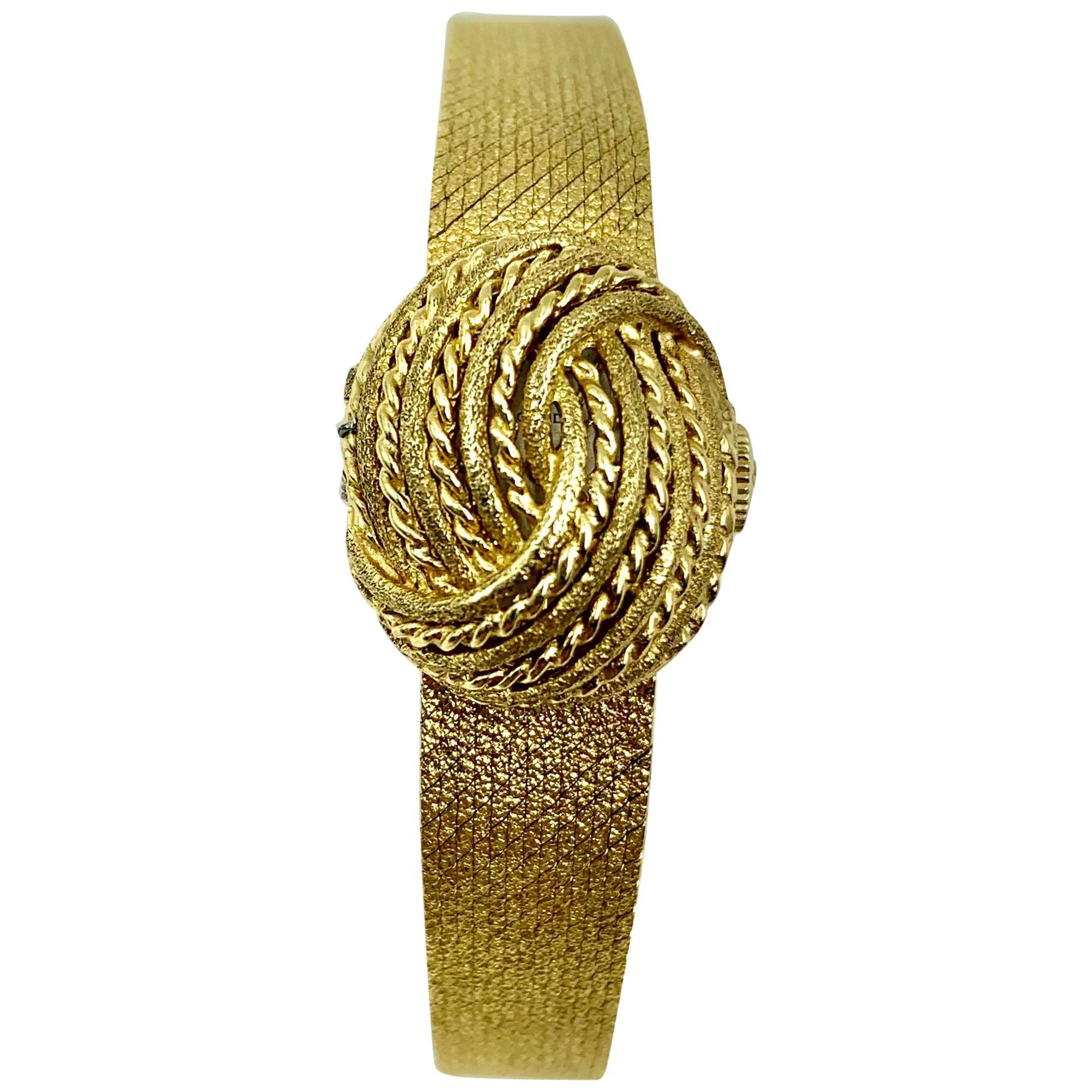 Vintage 1970s Movado Bracelet Watch, 14 Karat Textured Gold, Switzerland