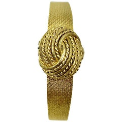 Vintage 1970s Movado Bracelet Watch, 14 Karat Textured Gold, Switzerland