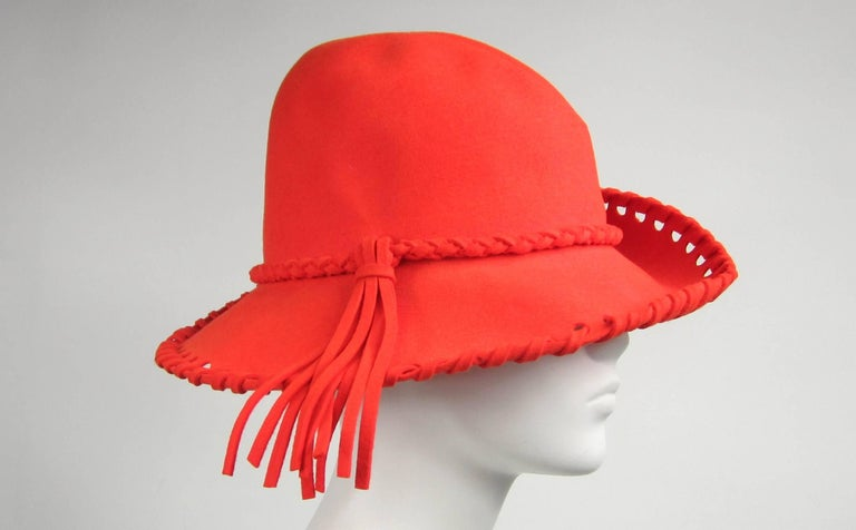 fc2913e9fe8 Vintage 1970 s Mr. John Classic Red Orange Whipstitch Wool Fedora Hat In  Good Condition For