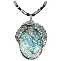 Vintage 1970's Native American Abalone Sterling Silver Feather Motif Necklace