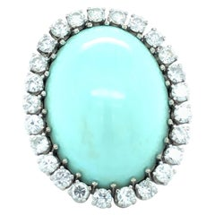 Vintage 1970s Natural 42.96 ct Turquoise & Diamonds 14kt Gold Ring, GIA Cert.
