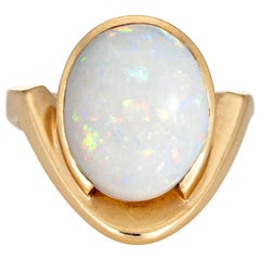 Vintage 1970s Natural Opal Ring 14 Karat Gold Abstract Design Pinky Jewelry