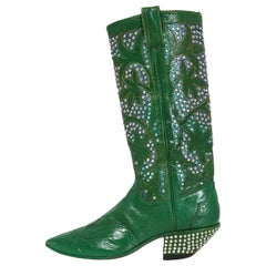 Vintage 1970's Nudie's Rodeo Tailor Rhinestone Green Leather Cowboy Boots