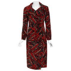 Vintage 1970's Oscar de la Renta Bold Squiggle Print Velvet Double-Breasted Coat