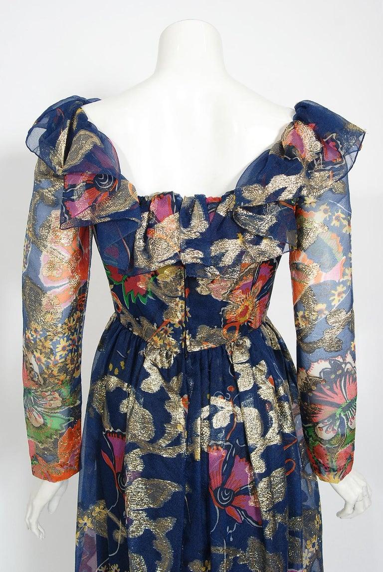 Vintage 1970's Oscar de la Renta Metallic Navy Floral Silk Long-Sleeve Dress For Sale 5