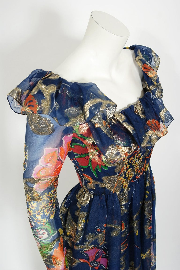 Black Vintage 1970's Oscar de la Renta Metallic Navy Floral Silk Long-Sleeve Dress For Sale