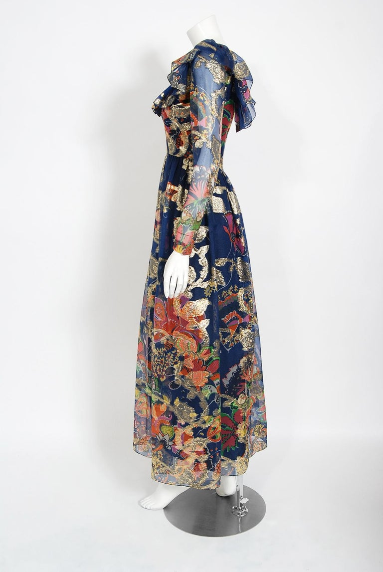 Women's Vintage 1970's Oscar de la Renta Metallic Navy Floral Silk Long-Sleeve Dress For Sale