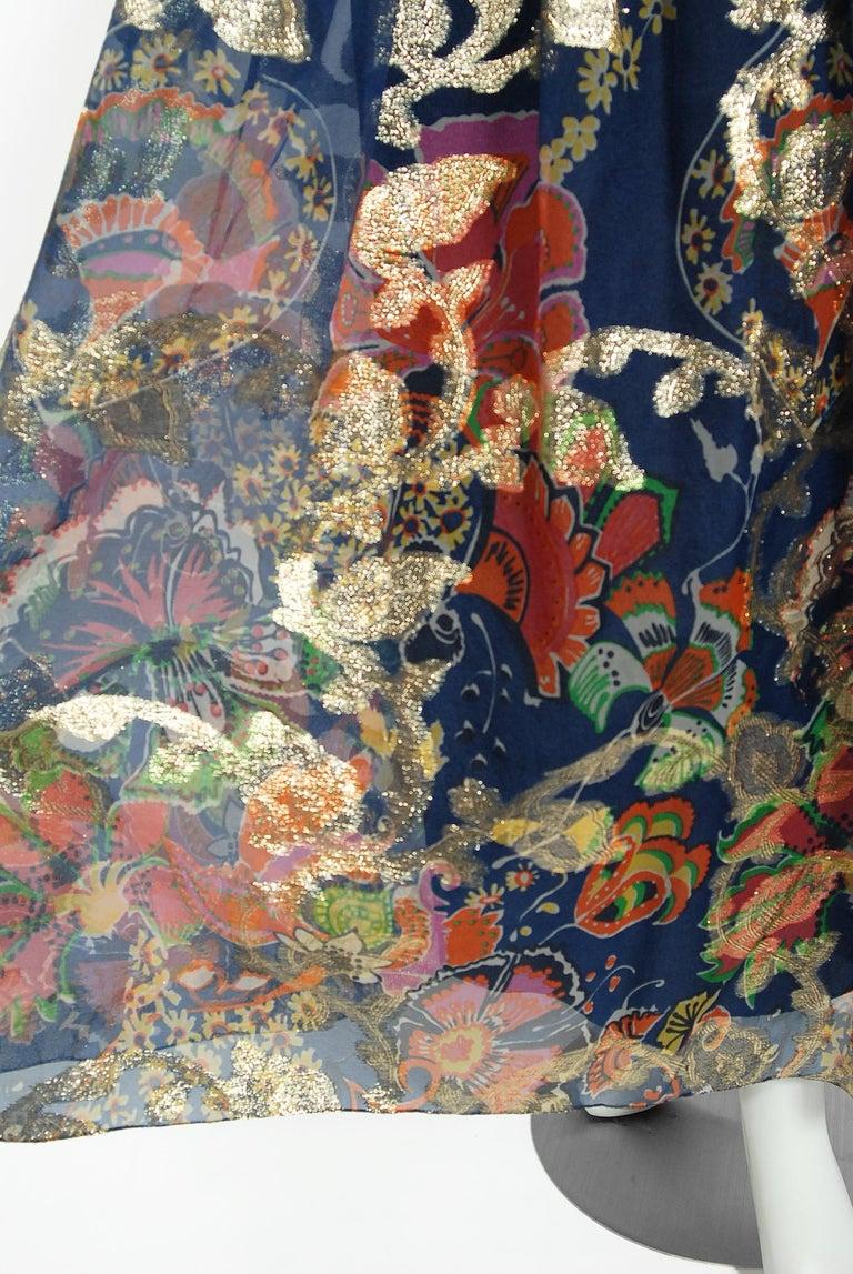 Vintage 1970's Oscar de la Renta Metallic Navy Floral Silk Long-Sleeve Dress For Sale 1