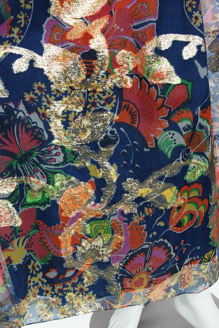 Vintage 1970's Oscar de la Renta Metallic Navy Floral Silk Long-Sleeve Dress For Sale 2