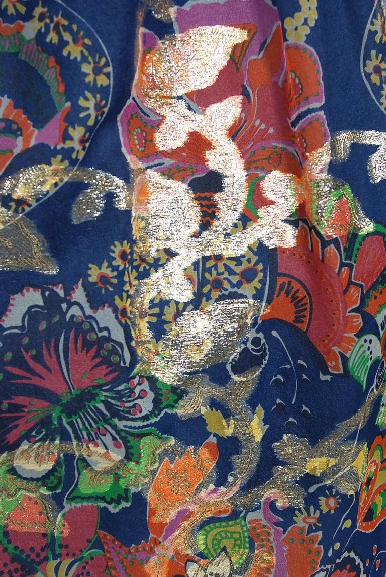 Vintage 1970's Oscar de la Renta Metallic Navy Floral Silk Long-Sleeve Dress For Sale 3