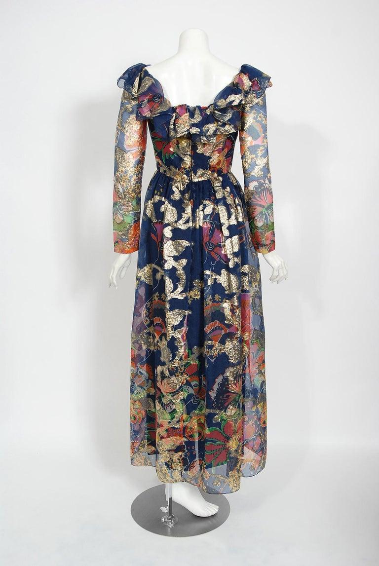 Vintage 1970's Oscar de la Renta Metallic Navy Floral Silk Long-Sleeve Dress For Sale 4