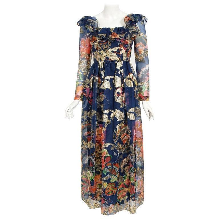 Vintage 1970's Oscar de la Renta Metallic Navy Floral Silk Long-Sleeve Dress For Sale
