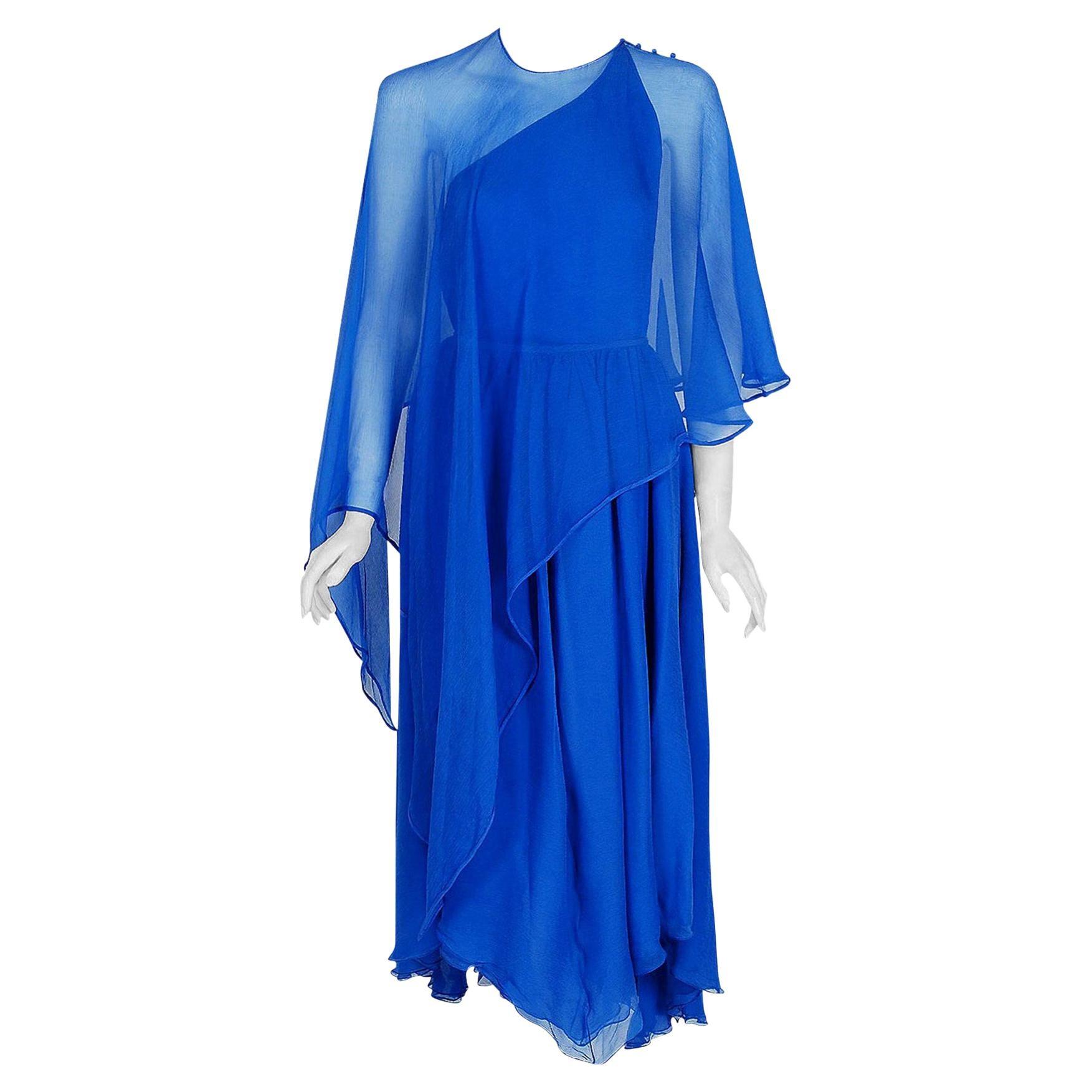 Vintage 1970's Oscar de la Renta Royal-Blue Silk Asymmetric Caftan Dress Set