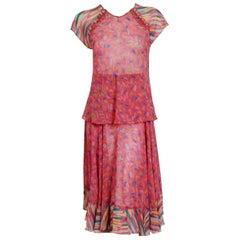 Vintage 1970's Ossie Clark for Radley Pink Celia Birtwell Print Crepe Dress Set