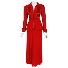 Vintage 1970's Ossie Clark Red Moss-Crepe Satin Deco Peplum Blouse & Maxi Skirt