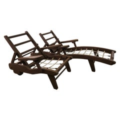 Vintage 1970s Outdoor Wood Chaise Lounge & Chair Set