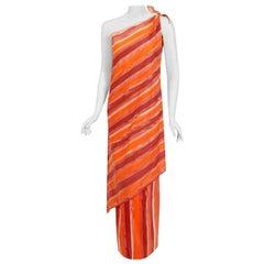Vintage 1970's Paco Rabanne Striped Cotton One-Shoulder Asymmetric Dress Set