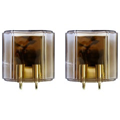 Vintage 1970s Pair of Toned Glass Wall Mounted Sconces by Limburg, Germany