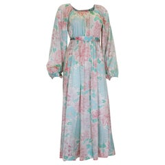 Vintage 1970s Pastel Coloured Floral Print Jersey Dress