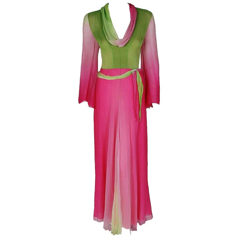 Vintage 1970's Pauline Trigere Pink & Green Ombre Silk Chiffon Bell-Sleeve Gown For Sale