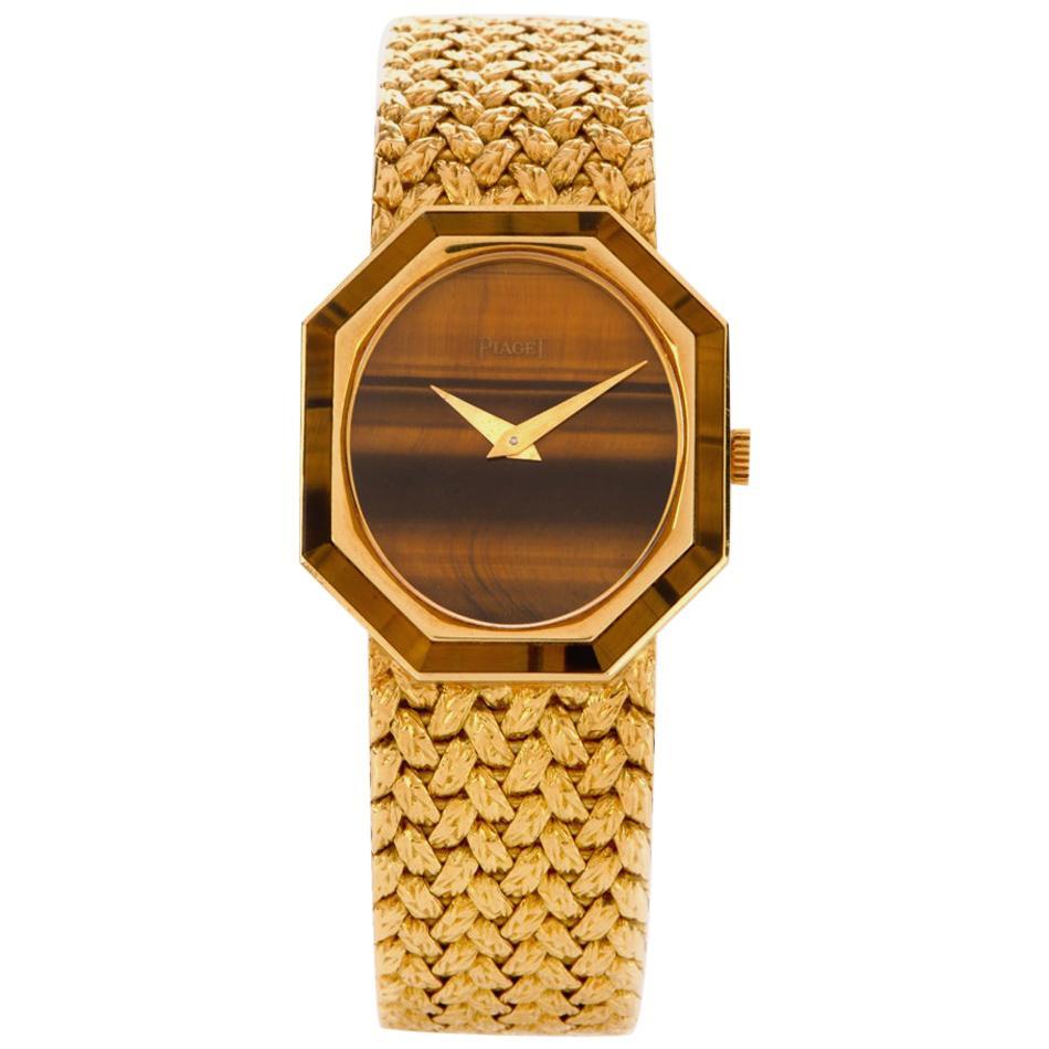 Vintage 1970s Piaget Tiger's Eye 18 Karat Yellow Gold Octagon 9342 Ladies Watch